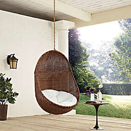 Modway Landscape Outdoor Bean Swing Chair in Coffee/White