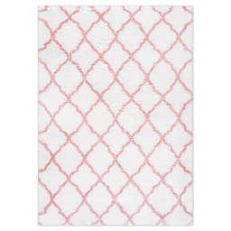 nuLOOM Nelda Trellis Shag Area Rug in Baby Pink