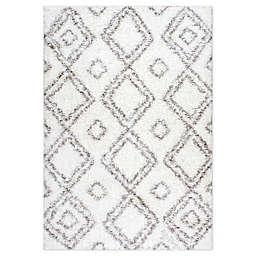 nuLOOM Diamond Shag Area Rug in White