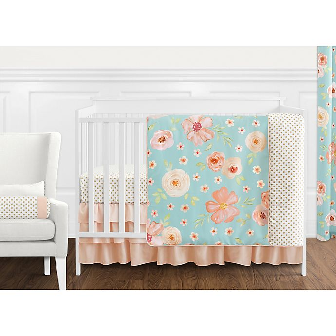 Alternate image 1 for Sweet Jojo Designs Watercolor Floral Crib Bedding Collection in Turquoise/Peach