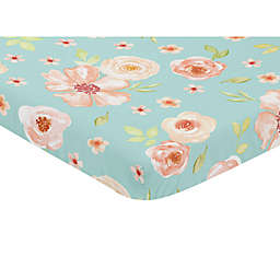 Sweet Jojo Designs Watercolor Floral Mini Fitted Crib Sheet in Turquoise