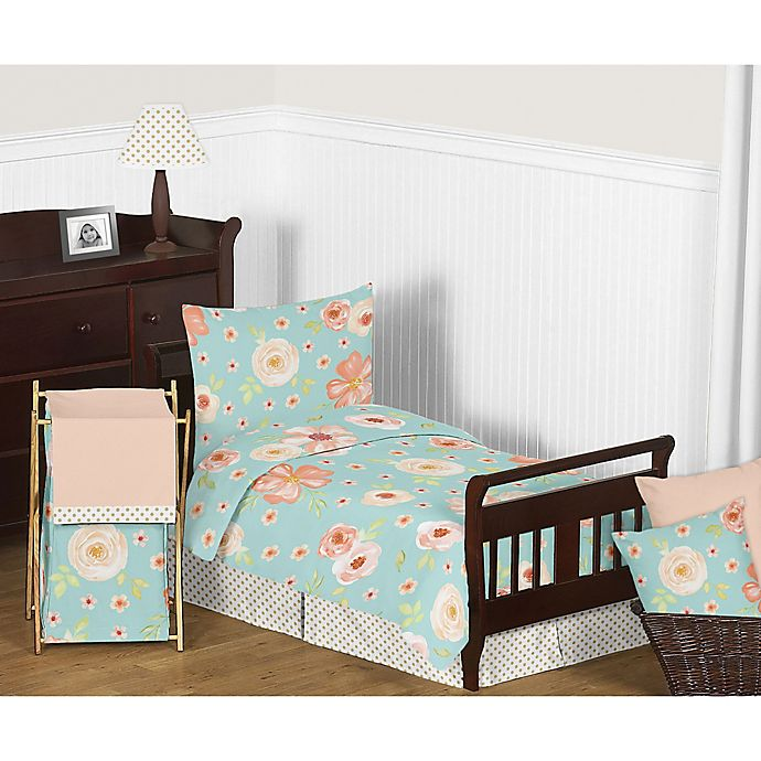 Alternate image 1 for Sweet Jojo Designs Watercolor Floral Toddler Bedding Collection in Turquoise/Peach