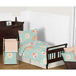 Sweet Jojo Designs Watercolor Floral Toddler Bedding Collection in Turquoise/Peach