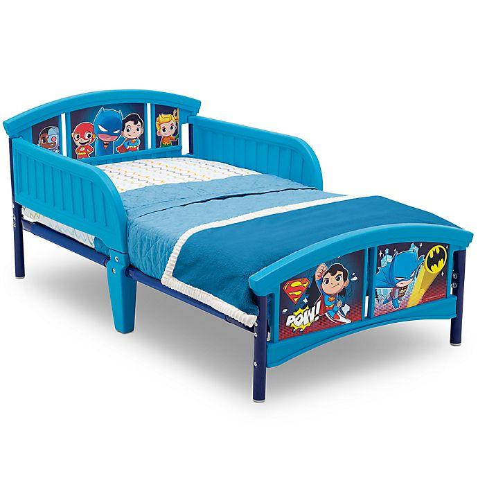 Alternate image 1 for Delta Children DC Super Friends Plastic Toddler Bed in Blue
