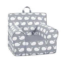 Kangaroo Trading Company Classic Whale Tales Kid's Grab-n-Go Foam Chair in Grey