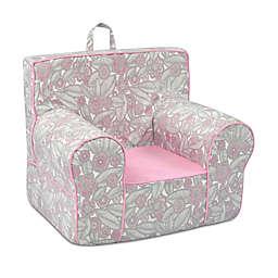 Kangaroo Trading Company Classic Tribal Pebbles Kid's Grab-n-Go Foam Chair in Grey/Pink