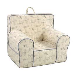 Kangaroo Trading Company Classic Vintage Flyer Kid's Grab-n-Go Foam Chair in Natrl/Grey