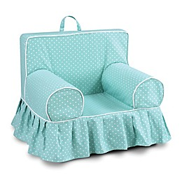 Kangaroo Trading Company Addison Mini Dot Skirted Kid's Grab-n-Go Foam Chair in Teal Blue