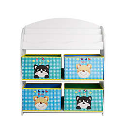 Mind Reader Toy Bin Organizer with Bookshelves in White
