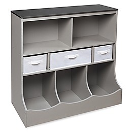 Badger Basket Combo Bin Storage Unit with 3 Baskets in Grey