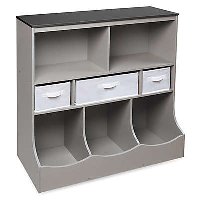 Badger Basket Combo Bin Storage Unit with 3 Baskets in Grey