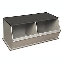 Badger Basket 2-Bin Stackable Storage Cubby in Grey