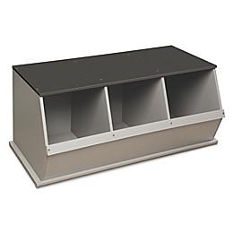 Badger Basket Three Bin Stackable Storage Cubby in Woodgrain/Grey