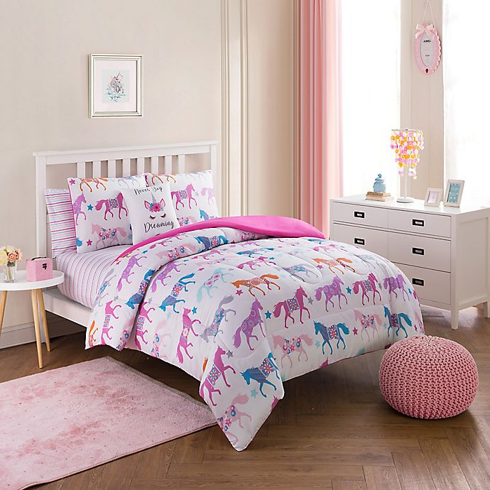 Alternate image 1 for Unicorn Parade Comforter Set in Pink