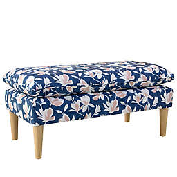 Skyline Furniture Wilmont Kids Floral Upholstered Bench in Navy