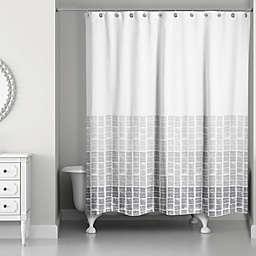 Stamp Pattern Shower Curtain in Grey