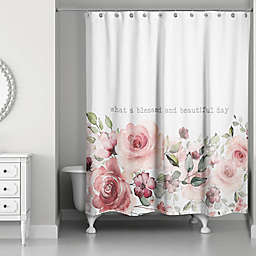 Designs Direct Beautiful Day Shower Curtain in Pink