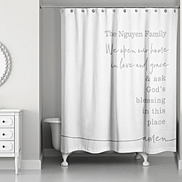 Designs Direct We Ask God's Blessing Shower Curtain in Grey