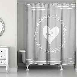 Designs Direct White Heart Wreath Curtain in Grey