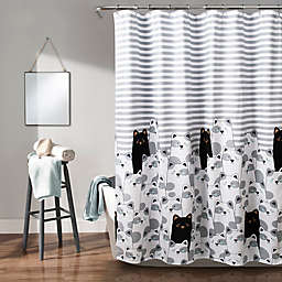 Lush Décor Stripe Bear Shower Curtain in Grey