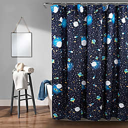 Lush Décor Universe Shower Curtain in Navy