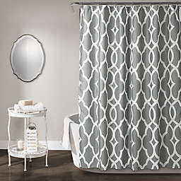 Lush Décor Connor Geo Shower Curtain in Grey
