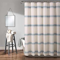 Lush Décor Farmhouse Stripe Shower Curtain in Blue