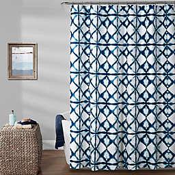 Lush Décor Geo Hibori Shower Curtain in Navy