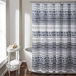 Lush Décor Hygge Geo Shower Curtain in NavyWhite