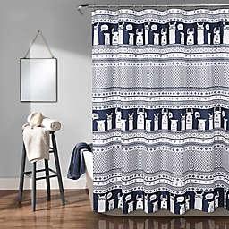 Lush Décor Llama Stripe Shower Curtain in Navy