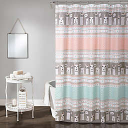 Lush Décor Llama Stripe Shower Curtain in Pink/Turqouise