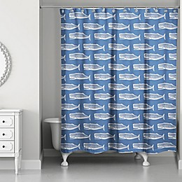 Designs Direct Whale Shower Curtain in Navy