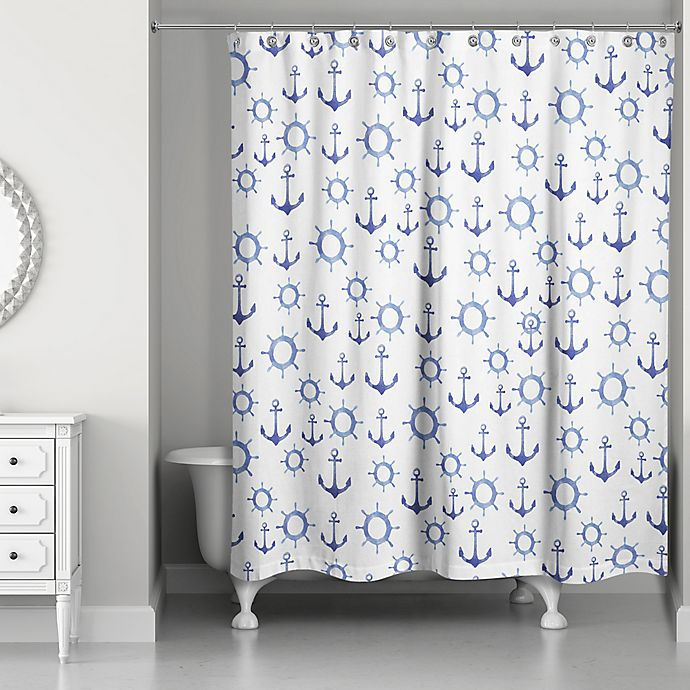 Designs Direct Nautical Anchors Shower Curtain In Blue