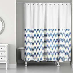 Designs Direct Doodle Waves Shower Curtain in Blue/White