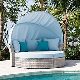 Athens Outdoor Canopy Daybed in White Wash with Ottomans and Cushions