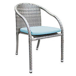 Athens Stackable Woven Patio Armchair in White Wash with Cushion