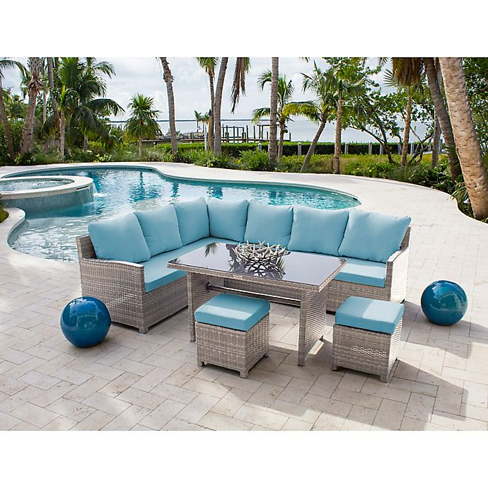 Athens 4 Piece Sectional Patio Dining Set In White Wash With