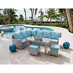 Athens 4-Piece Sectional Patio Dining Set in White Wash with Cushions