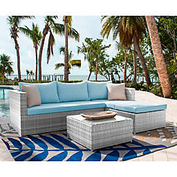 Athens 3-Piece Patio Sectional Sofa Set in White Wash with Coffee Table and Cushions