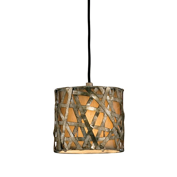 Alternate image 1 for Uttermost Metal Champagne Silver Alita Mini-pendant Drum Lamp