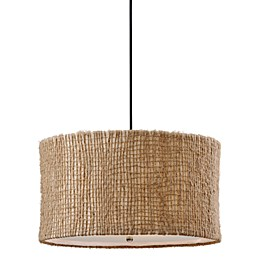 Uttermost 3-light Fabric Natural Burleson Drum Pendant Lamp