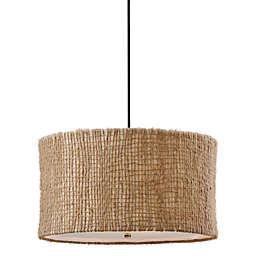 Uttermost 3-light Fabric Natural Burleson Drum Pendant Lamp
