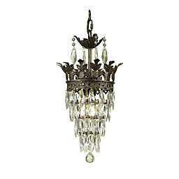 AF Lighting Sovereign Candle Base Mini Chandelier with Glass Diamond Crystals and Beads