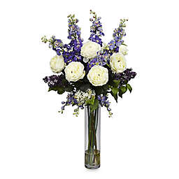 Nearly Natural Silk Rose Delphinium and Lilac Flower Arrangement with Vase