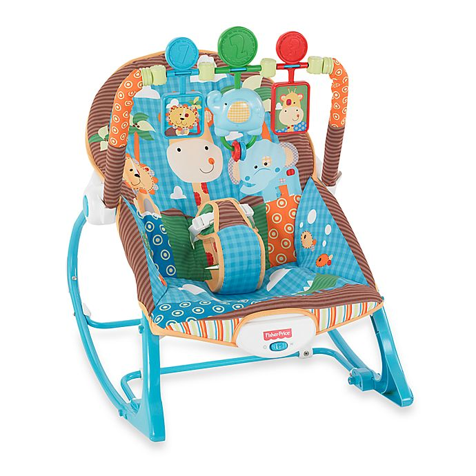 Alternate image 1 for Fisher-Price® Blue Animals Infant to Toddler Rocker