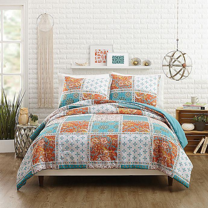Alternate image 1 for Jessica Simpson Verano Reversible Twin/Twin XL Comforter Set in Coral