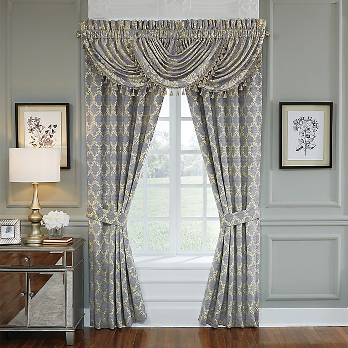 Alternate image 1 for Croscill® Nadia 95-Inch Rod Pocket Window Curtain Panel Pair in Light Grey