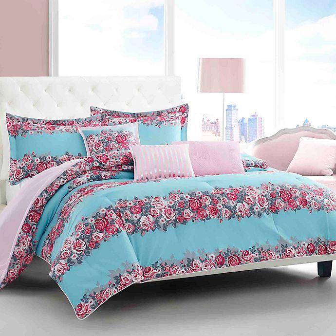 Alternate image 1 for Betsey Johnson® Banded Floral Comforter Bonus Set