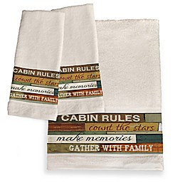 Laural Home® Cabin Rules Hand Towels (Set of 2)