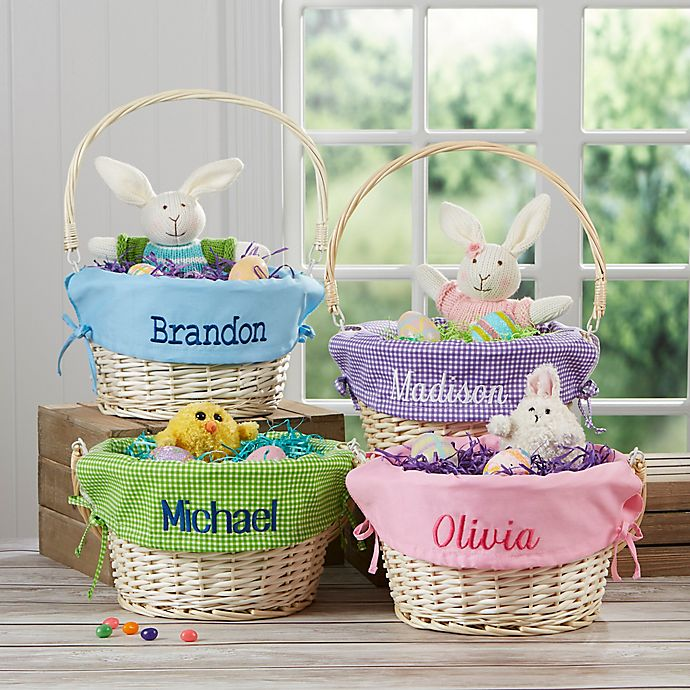 Alternate image 1 for Personalized Willow Easter Basket with Drop-Down Handle